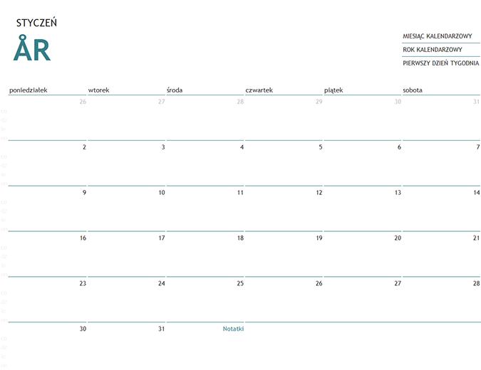 Kalendarz jednomiesięczny na dowolny rok z notatkami