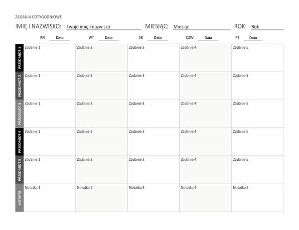 Arkusz zadań w tygodniu (poziomy)