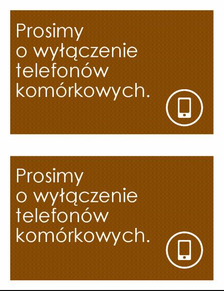 Znak z zakazem używania telefonów komórkowych (2 na stronę)