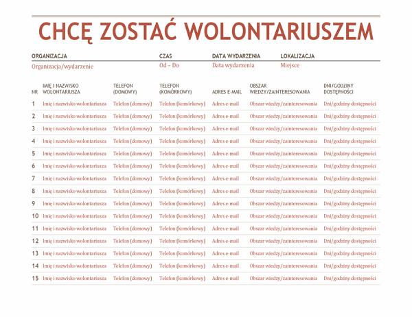Arkusz rejestrowania wolontariuszy