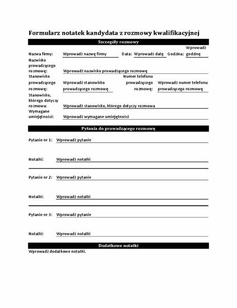Formularz notatek kandydata z rozmowy kwalifikacyjnej