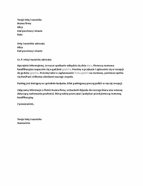 List potwierdzający rozmowę kwalifikacyjną kandydata