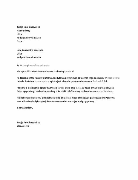 List z wezwaniem do spłaty na przeterminowanym koncie