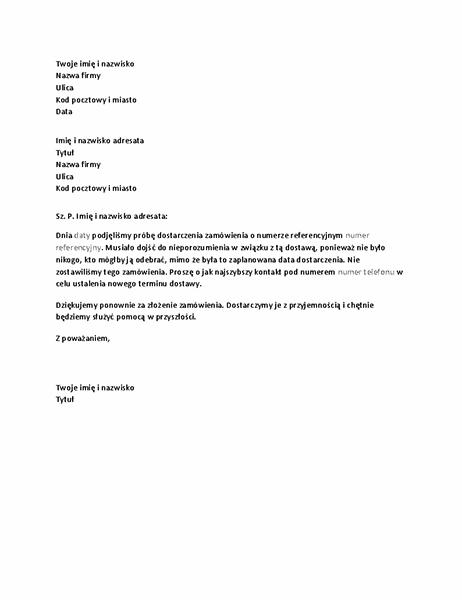 List powiadamiający klienta o przeoczonej dostawie