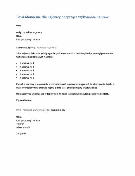 Powiadomienie dla najemcy dotyczące wykonania napraw (list seryjny)