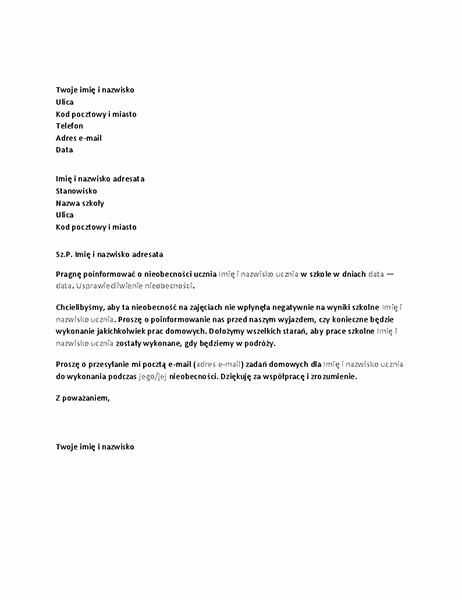 List powiadamiający szkołę o zbliżającej się nieobecności ucznia