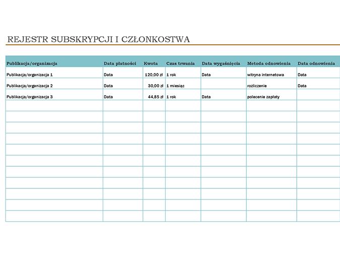 Rejestr subskrypcji i członkostwa