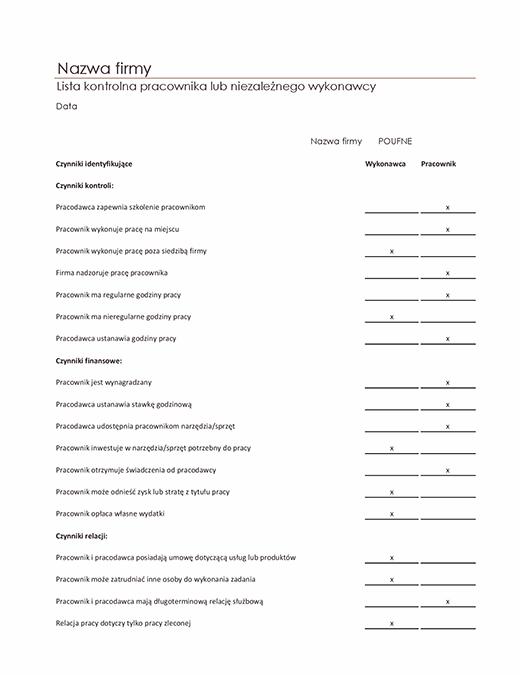 Lista kontrolna pracownika lub niezależnego wykonawcy