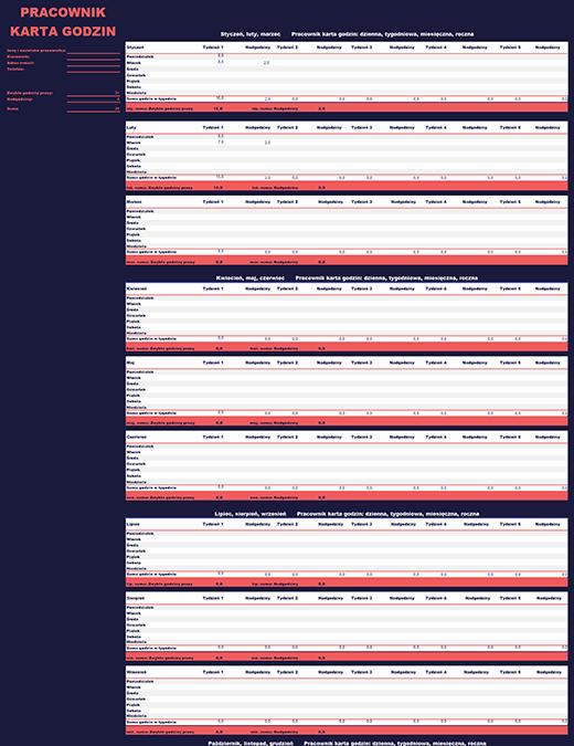 Grafik pracownika (tygodniowy, miesięczny, roczny)