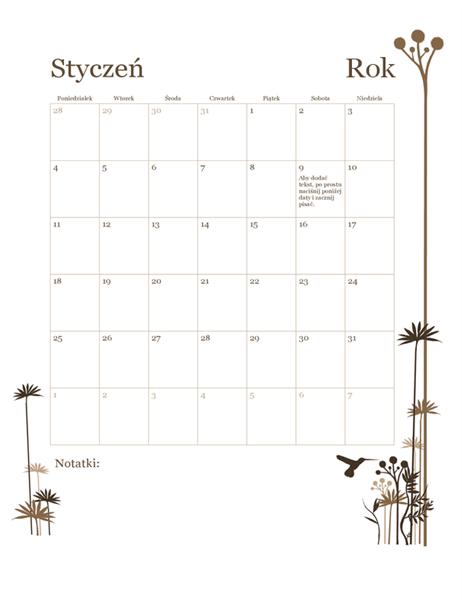Kalendarz 12-miesięczny (pon.–niedz.) — Koliber