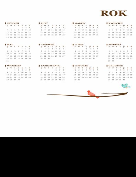 Kalendarz roczny (pon.–niedz.) — Ptak
