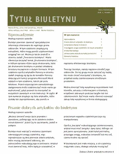 Biuletyn firmowy (2 kolumny, 6-pp., wysyłany pocztą)