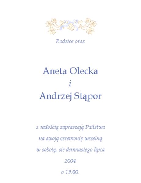 Zaproszenie na wesele (tradycyjne)