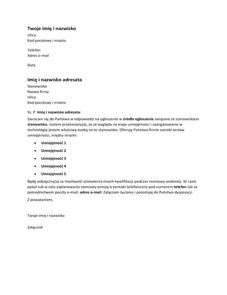 List motywacyjny w odpowiedzi na ogłoszenie