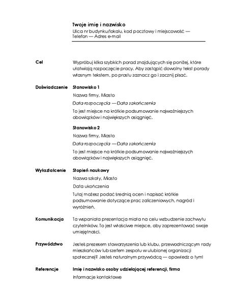 Życiorys chronologiczny (projekt Minimalistyczny)