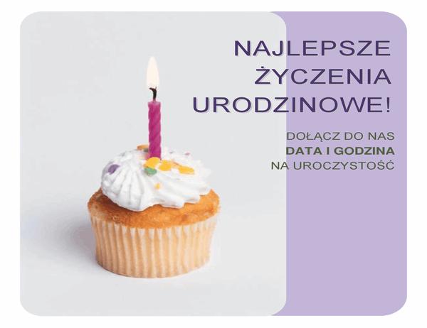 Ulotka z zaproszeniem na urodziny (z babeczką)