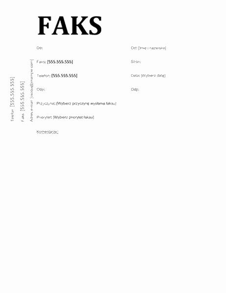 Strona tytułowa faksu (projekt szkolny)