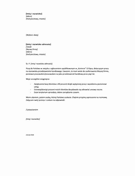 List motywacyjny w odpowiedzi na ogłoszenie (krótki)