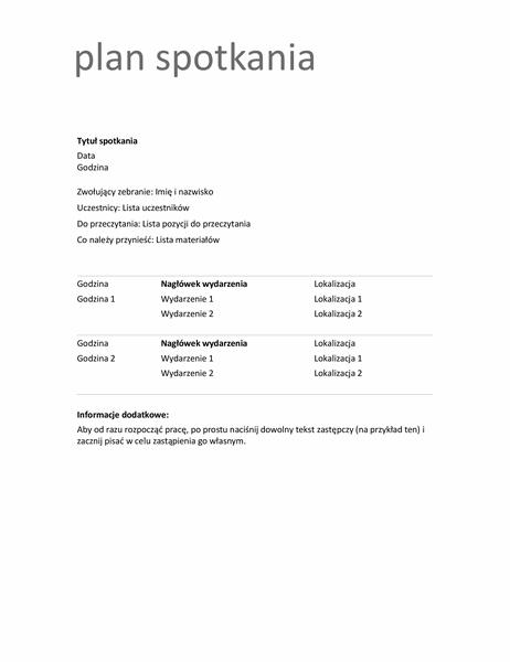 Plan spotkania