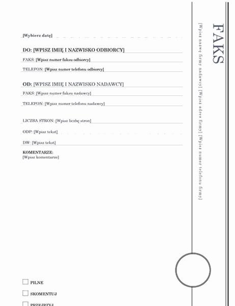 Strona tytułowa faksu (projekt Wykusz)