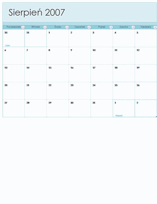 Kalendarz akademicki 2007–2008 (13 stron, poniedziałek–niedziela)