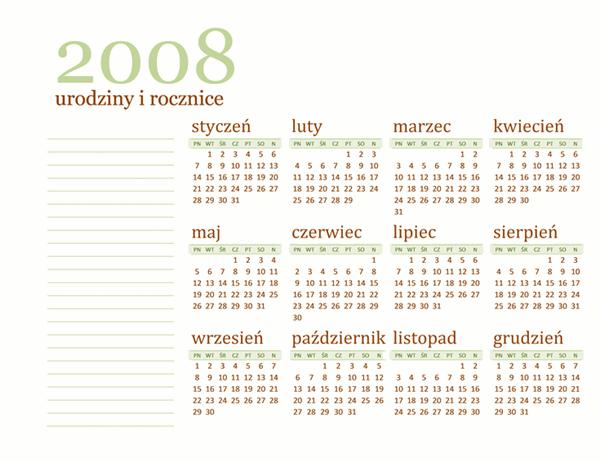 Kalendarz na 2008 rok z urodzinami i rocznicami (od poniedziałku do niedzieli)