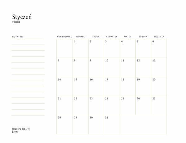 Kalendarz biznesowy na 2008 rok (od poniedziałku do niedzieli)