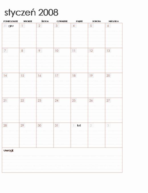 Kalendarz na rok 2008 na wielu arkuszach (pon.–niedz., 12 stron)
