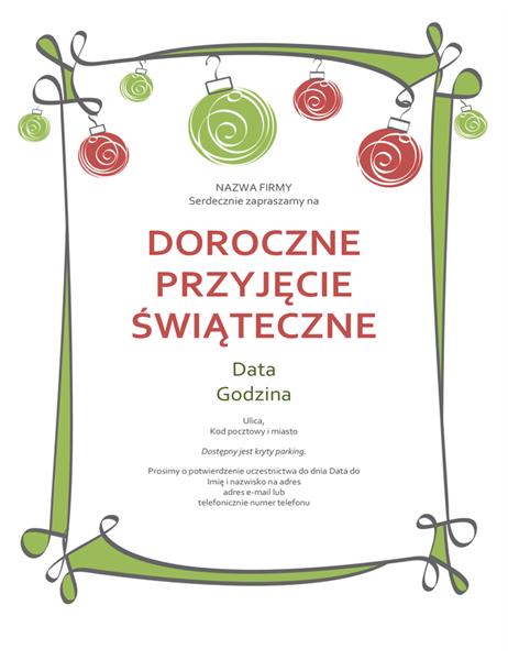 Zaproszenie na przyjęcie świąteczne z obramowaniem z ozdobami i zawijasami (projekt Nieformalny)