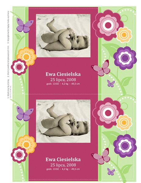 Kartki z informacją o narodzinach dziecka, z fotografią (motyw Kwiaty)