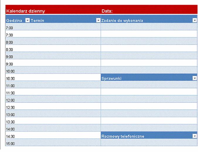 Kalendarz dzienny — pusty