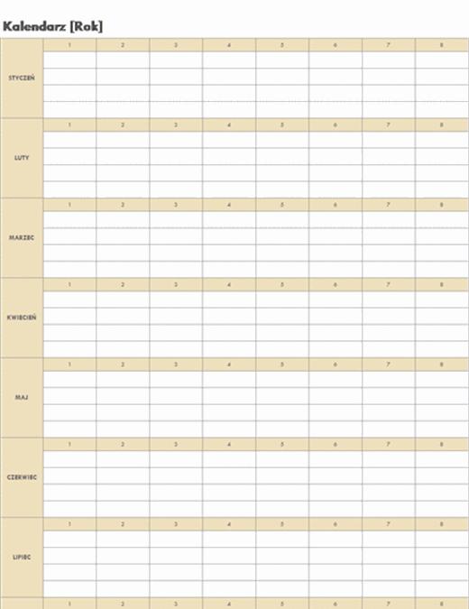 Kalendarz uniwersalny (poziomy)
