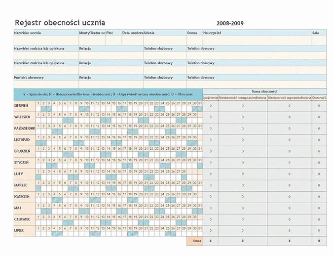 Rejestr obecności ucznia w roku szkolnym 2008/2009