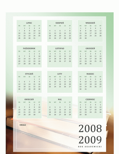 Kalendarz akademicki 2008/2009 (1 strona, poniedziałek–piątek)