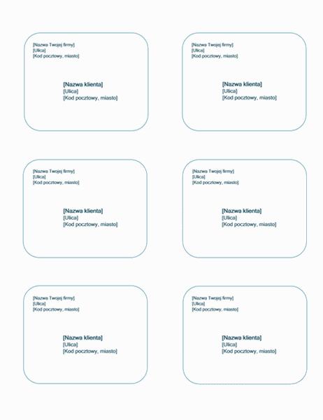 Etykiety wysyłkowe (motyw Niebieskie tło, pasuje do etykiet Avery 5164)