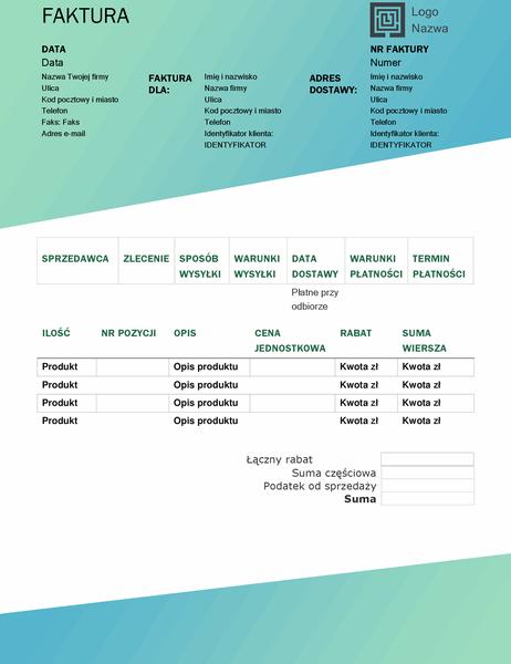 Faktura sprzedaży (motyw Zielony gradient)