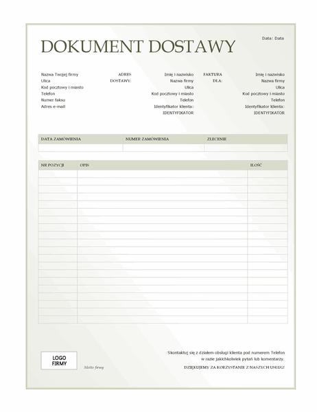 Dokument dostawy (motyw Zielony gradient)