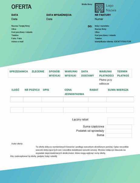 Oferta sprzedaży (motyw Zielony gradient)
