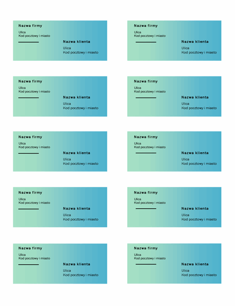Etykiety wysyłkowe (projekt Zielony gradient, 10 na stronie, pasują do papieru Avery 5163)