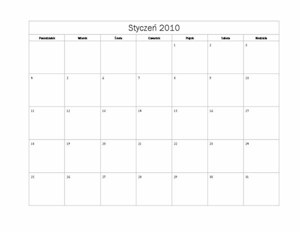 Kalendarz na rok 2010 (projekt podstawowy, pon.–niedz.)