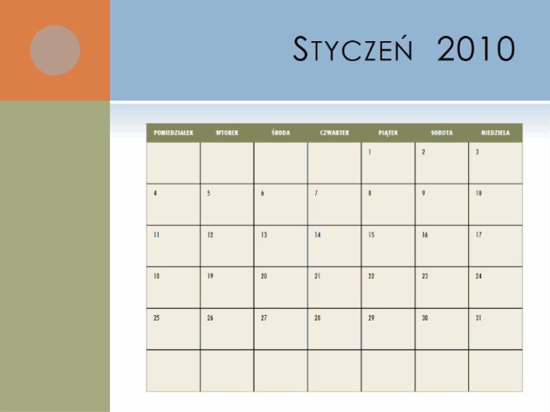Kalendarz na rok 2010
