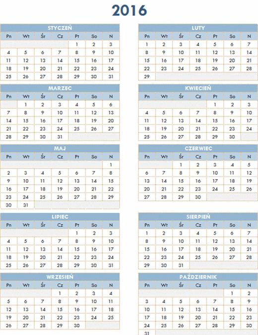 Kalendarz roczny 2016–2025