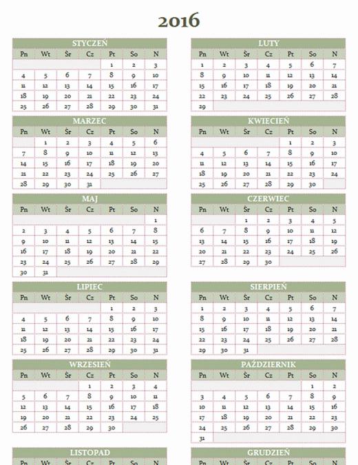 Kalendarz roczny 2016–2025 (pon.–niedz.)