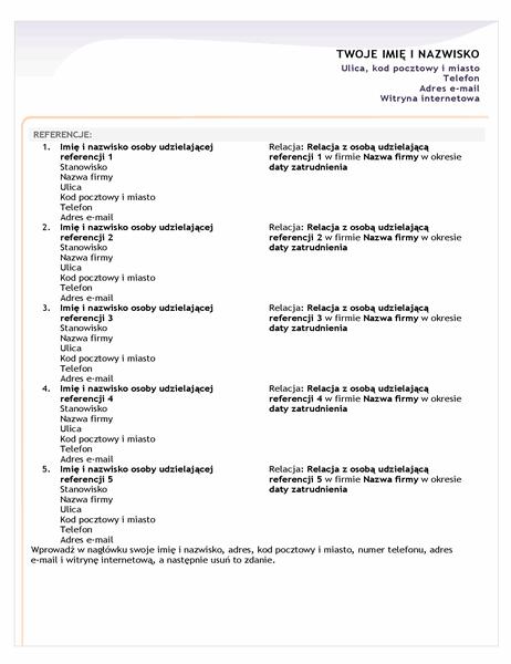 Arkusz referencji do podstawowego życiorysu