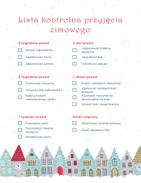 Zimowe przyjęcie świąteczne — lista kontrolna