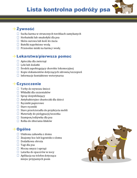 Lista kontrolna podróży psa