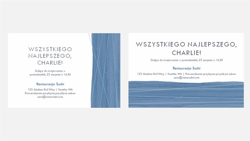 Zaproszenia na przyjęcie z niebieską wstążką (dwa na stronie)