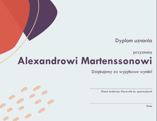 Dyplom uznania dla pracownika administracji