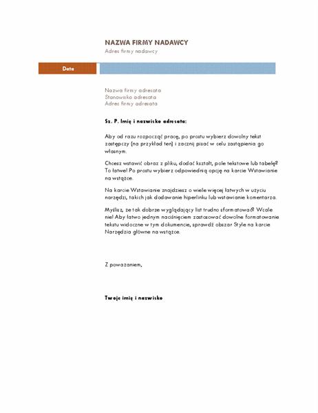 List biznesowy (motyw Średni)