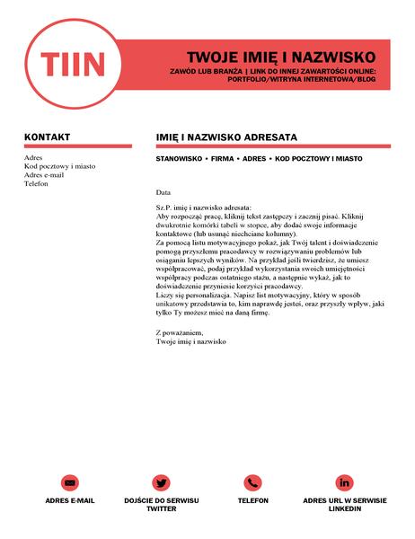 Dopracowany list motywacyjny, zaprojektowany przez firmę MOO